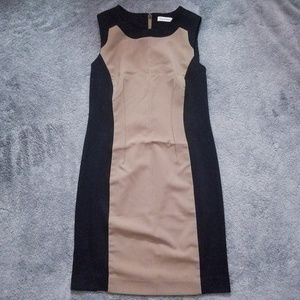 Calvin Klein Black and Tan Sheath Dress: 8